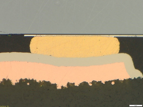 cross section after thermocompression bonding